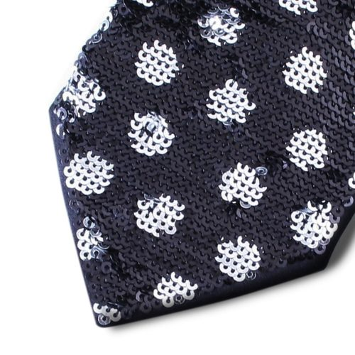 Black silk tie lined with black sequins and silver polka dots