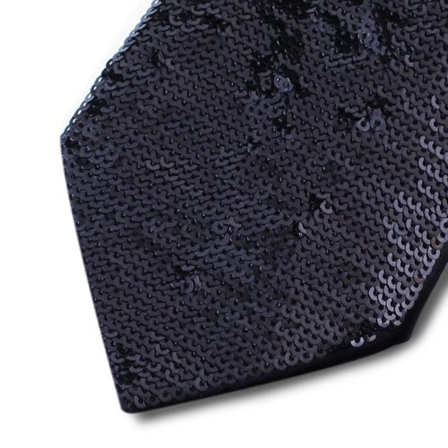Black silk tie lined with black sequins