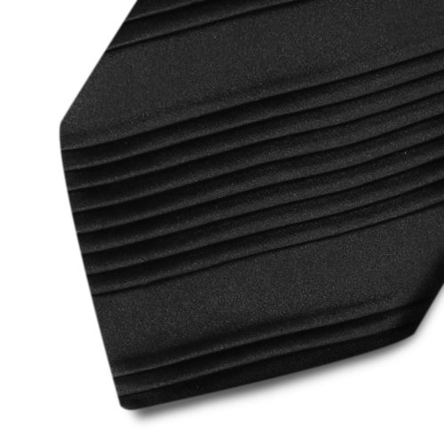 Alternate pleated black silk tie