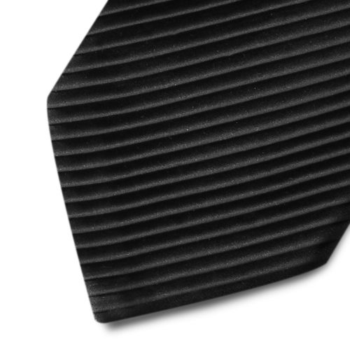 Pleated black silk tie