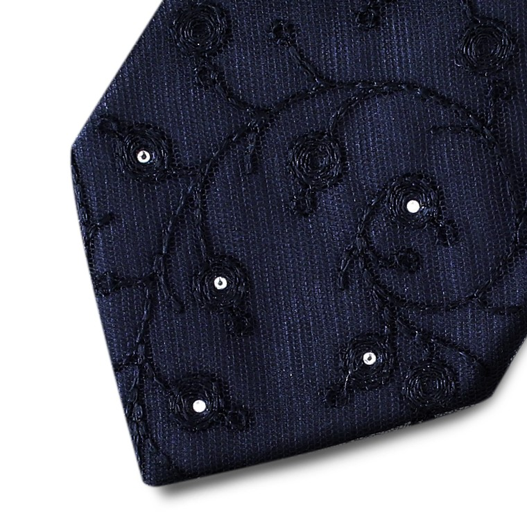 Black silk necktie with exclusive black ramage lace and Swarovski crystals