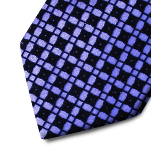 Violet silk tie with black velvet squares pattern