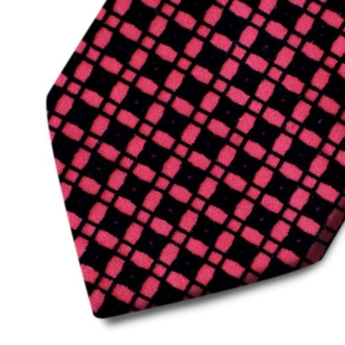 Bordeaux silk tie with black velvet squares pattern