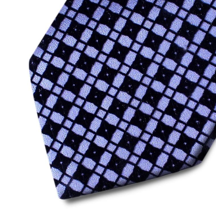 Grey silk tie with black velvet squares pattern
