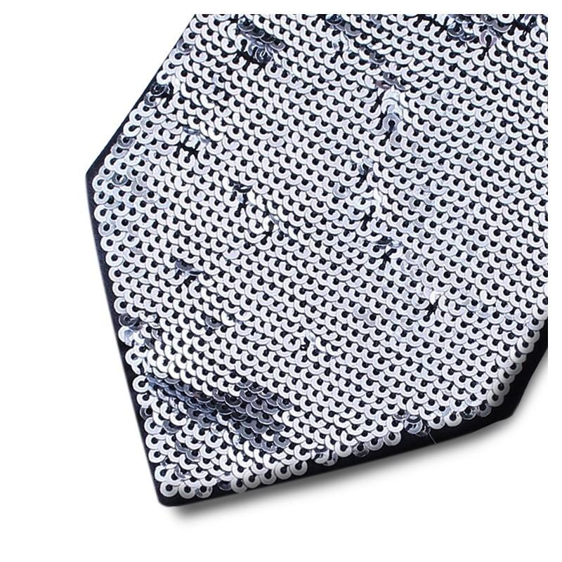 Black silk necktie lined with silver sequins 18007-12 Mod. R003 var 5