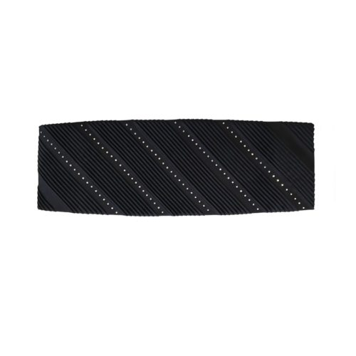 Black pleated solid colour silk belt with Swarovski