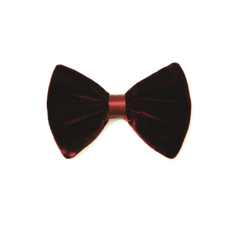 Red silk and velvet bow tie