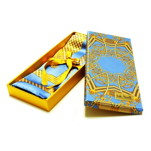 Light blue, orange and yellow patterned women silk headscarf