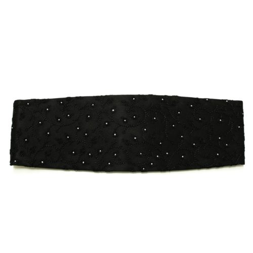 Black solid colour silk cummerbund with Swarovski