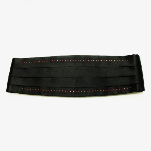 Black solid colour silk cummerbund with red Swarovski