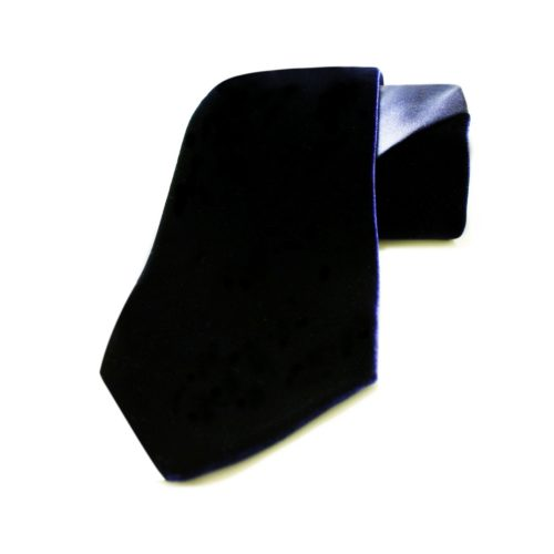 Blue silk and velvet tie