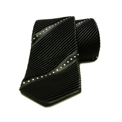 Black silk tie with Swarovski crystals