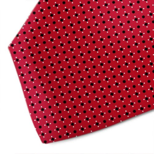 Red silk tie with black and white pattern