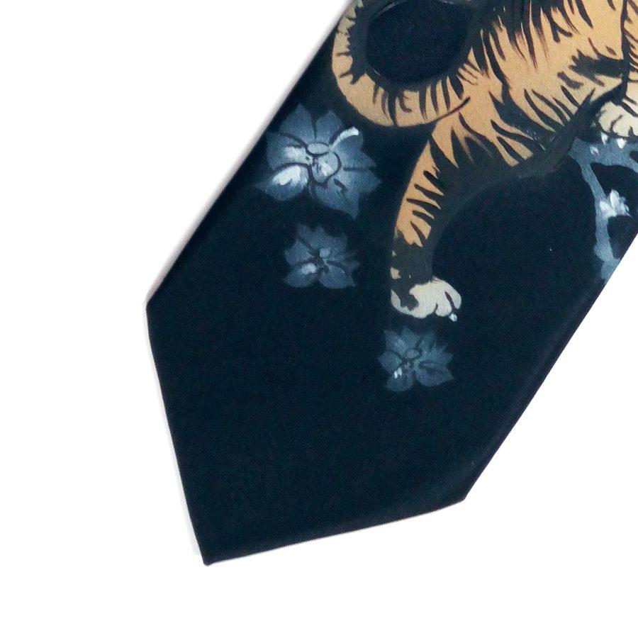 Hand painted black silk sartorial necktie, tiger decoration