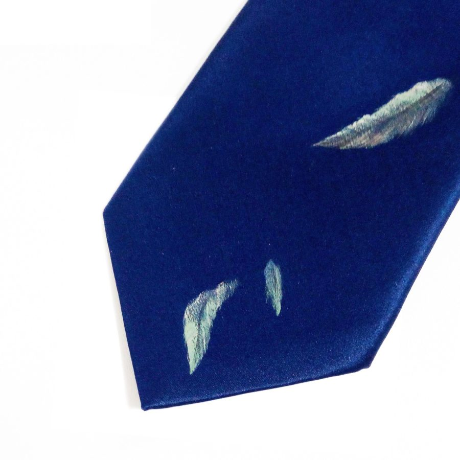 Hand painted blue silk sartorial necktie, tiger decoration