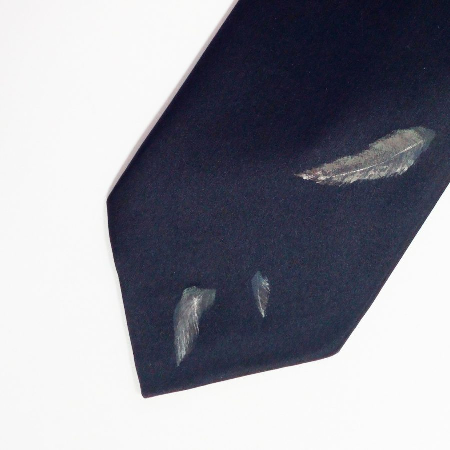 Hand painted black silk sartorial necktie, hummingbird decoration