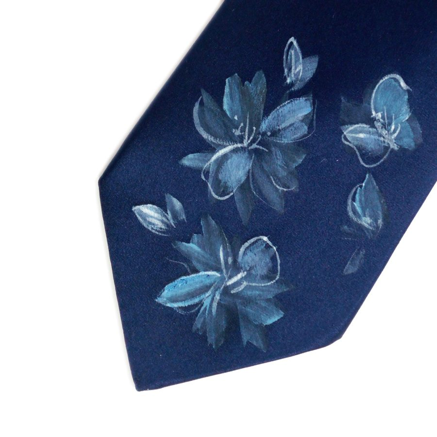 Hand painted blue silk sartorial necktie, flowers decoration
