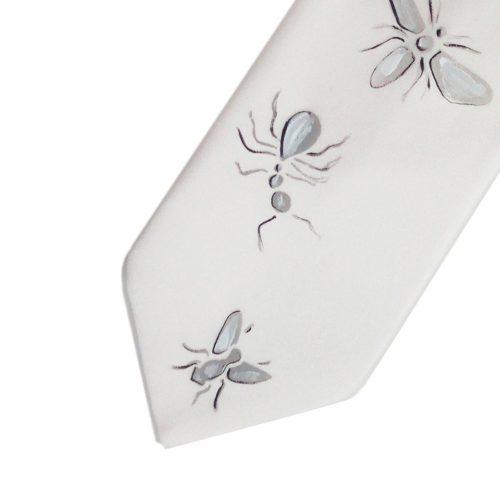 Hand painted white silk sartorial necktie, insects decoration
