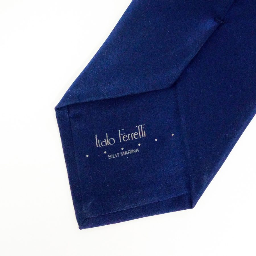 Hand painted blue silk sartorial necktie, insects decoration