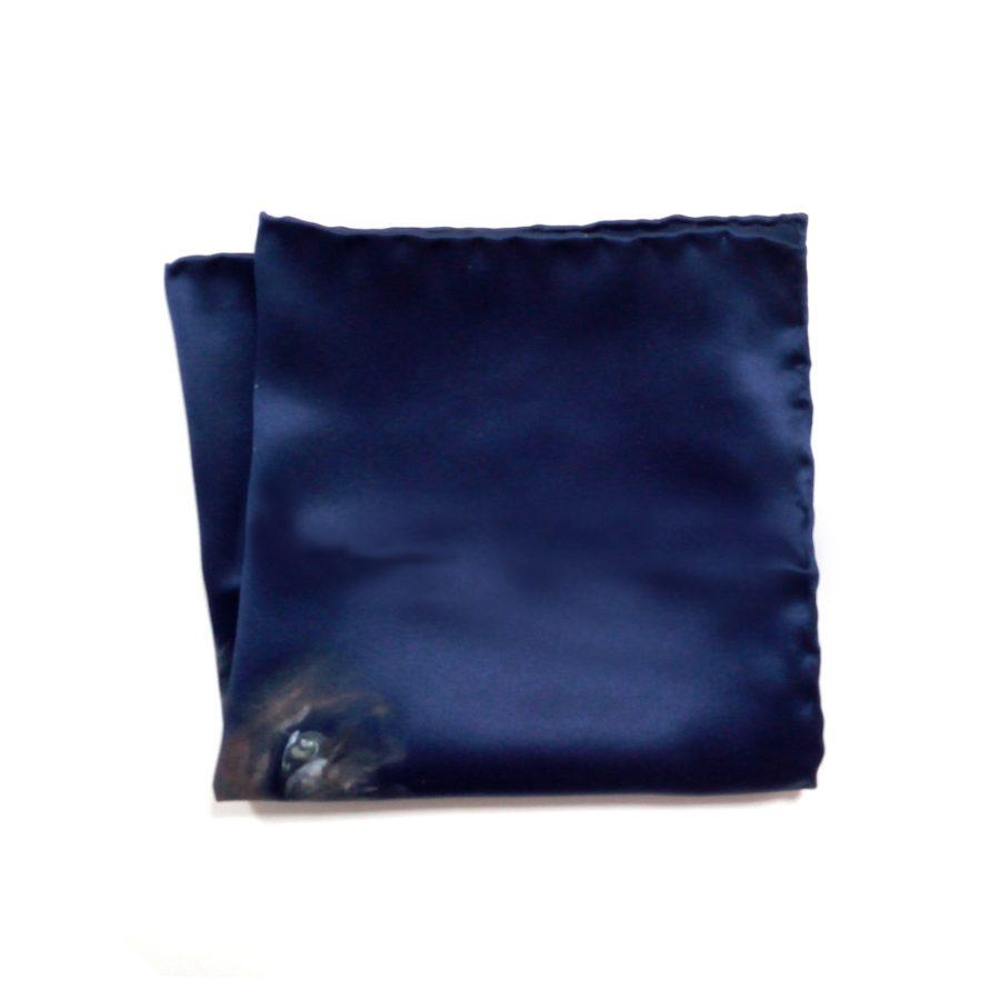 Hand painted blue silk sartorial pocket square, lion decoration