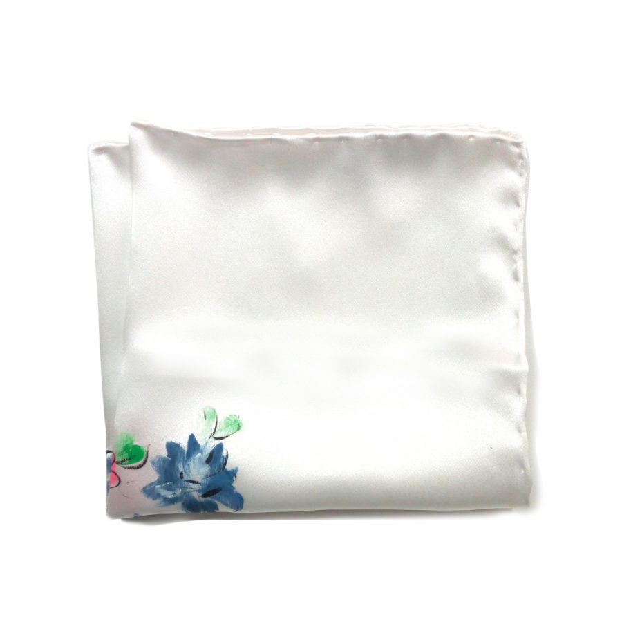 Hand painted blue silk sartorial pocket square, flowers decoration