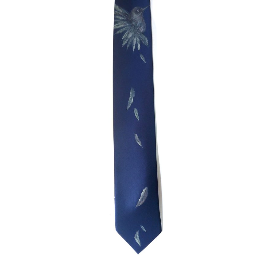 Hand painted blue silk sartorial necktie, hummingbird decoration