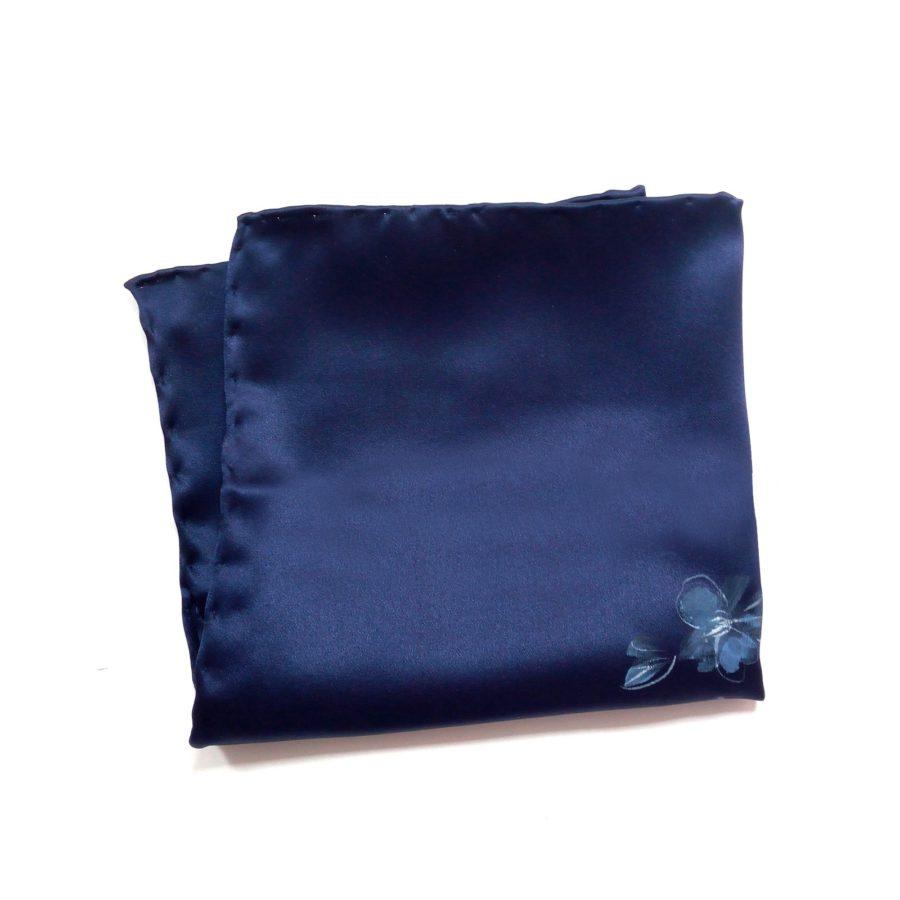 Hand painted blue silk sartorial pocket square, flowers decoration