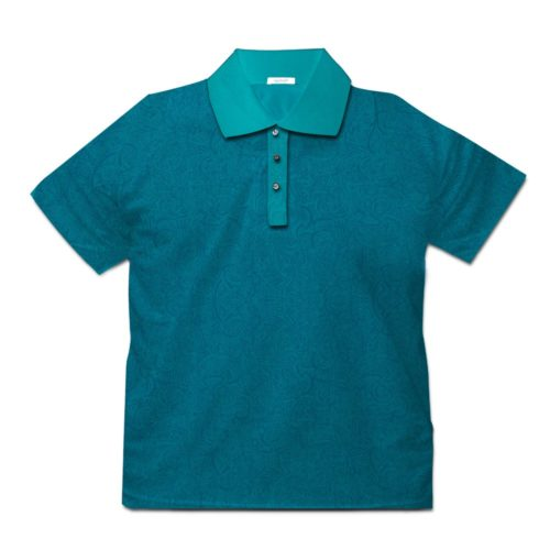 Short sleeve men's cotton polo shirt teal 418073-04