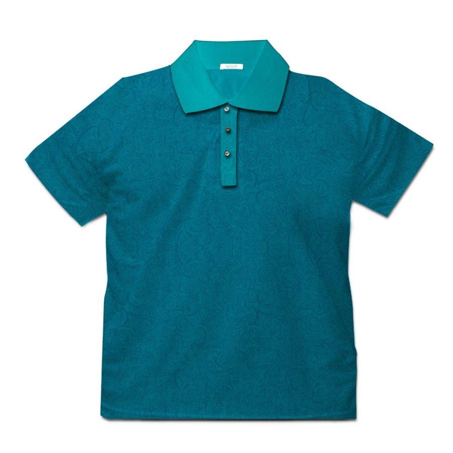 Short sleeve men's cotton polo shirt teal 418073-04