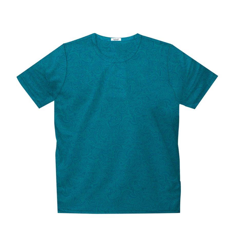 Short sleeve men's cotton t-shirt teal 418073-04