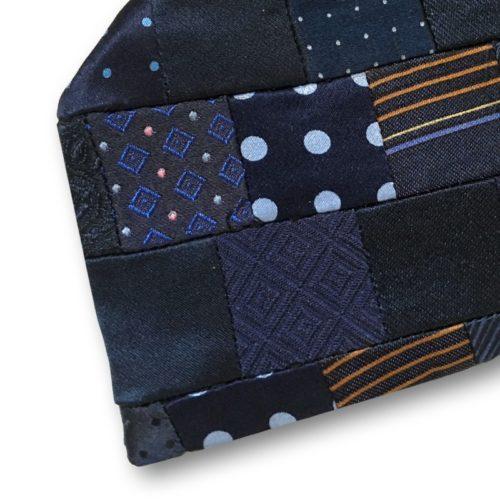 Blue minipatchwork silk tie