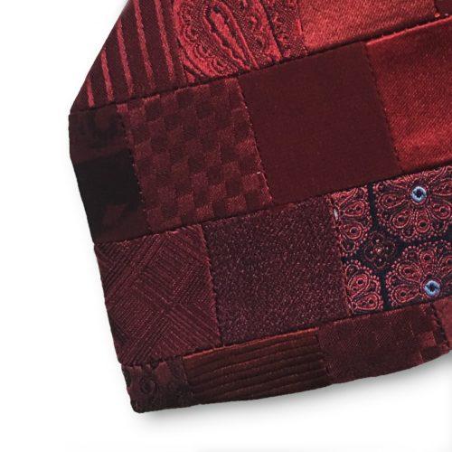 Red minipatchwork silk tie