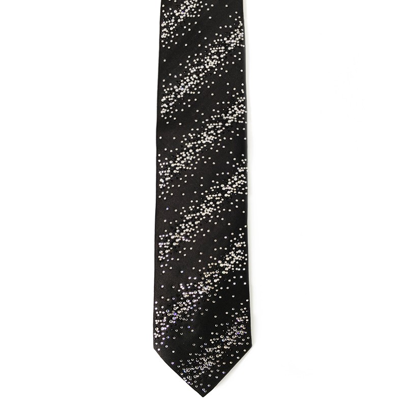 Black silk sartorial tie with black and white strass decoration S036
