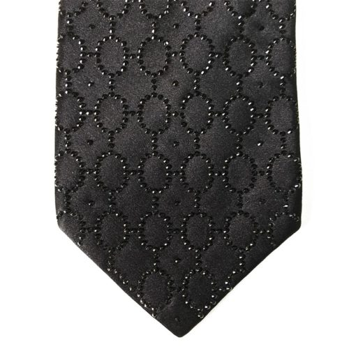 Black silk sartorial tie with black strass decoration S042 18007-12