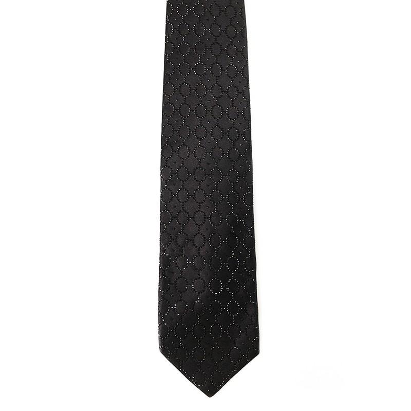 Black silk sartorial tie with black strass decoration S042 18007-12