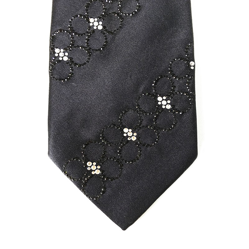 Black silk sartorial tie with black and white strass decoration S018 18007-12