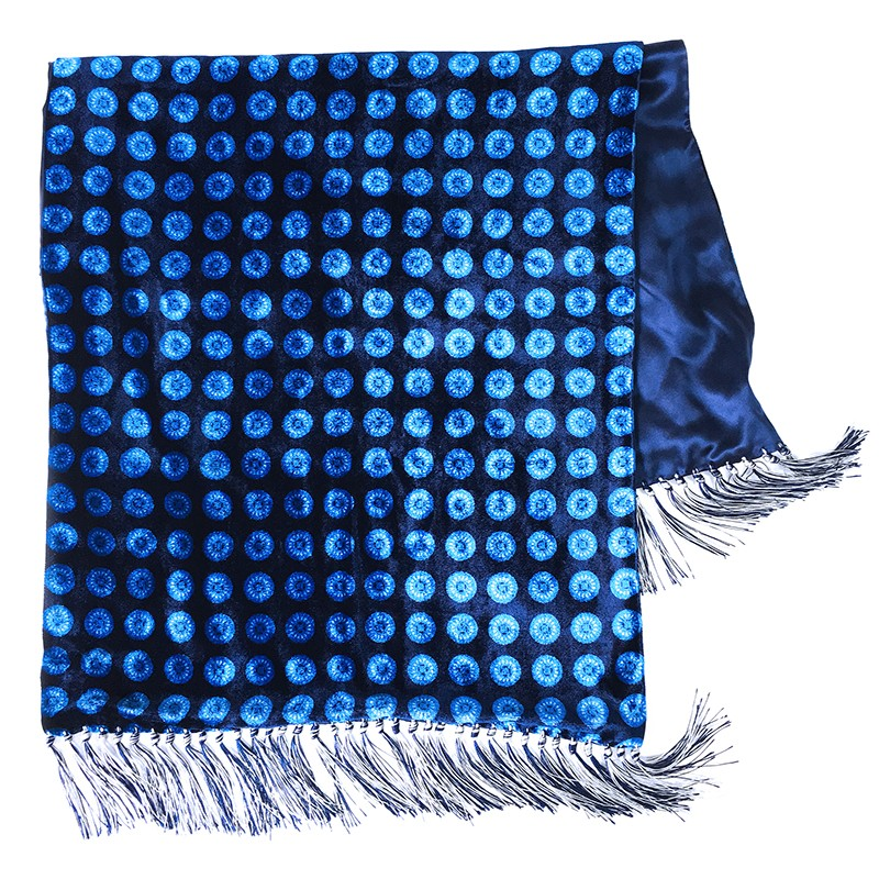 Blue and light blue double-sided velvet and silk sartorial fringed scarf 417317-2 + 18006-14