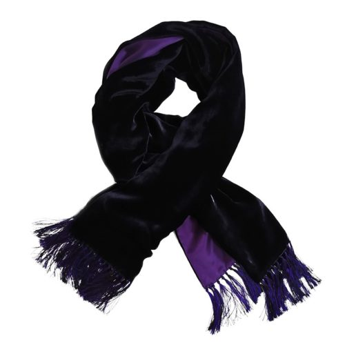 Dark violet and violet double-sided velvet and silk sartorial fringed scarf 408635-04 + 18003-01