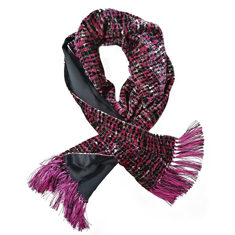 Black and fuchsia double-sided velvet and silk sartorial fringed scarf 415675-03 + 18007-12