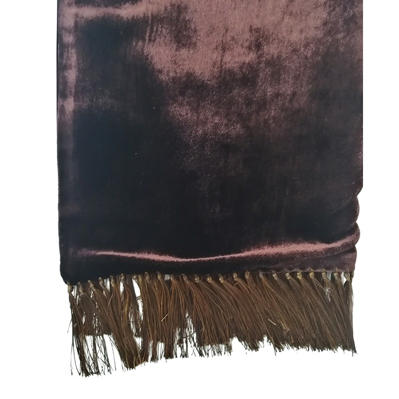 Dark brown and brown double-sided velvet and silk sartorial fringed scarf 408636-02 + 18003-05