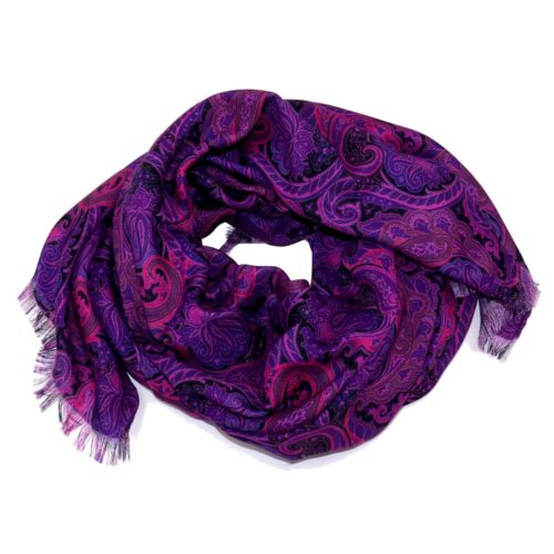 Sartorial and fringed scarf cashmere and silk purple 416259-01