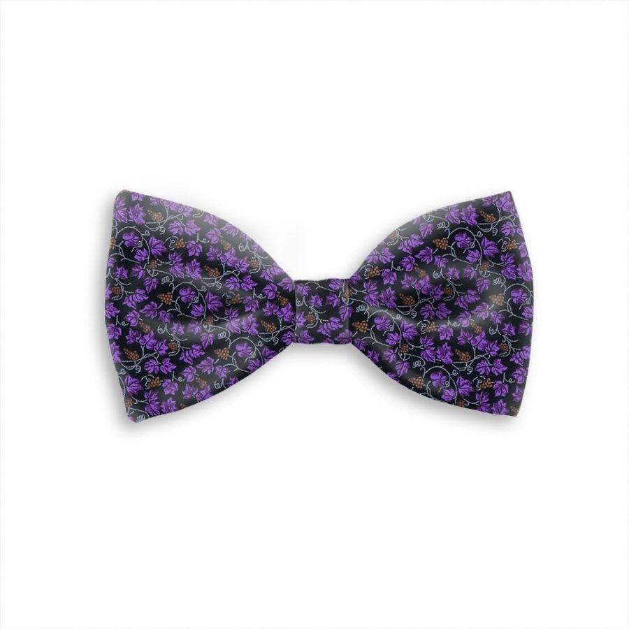 Tailored handmade bow-tie purple and gold vineyard 419301-01