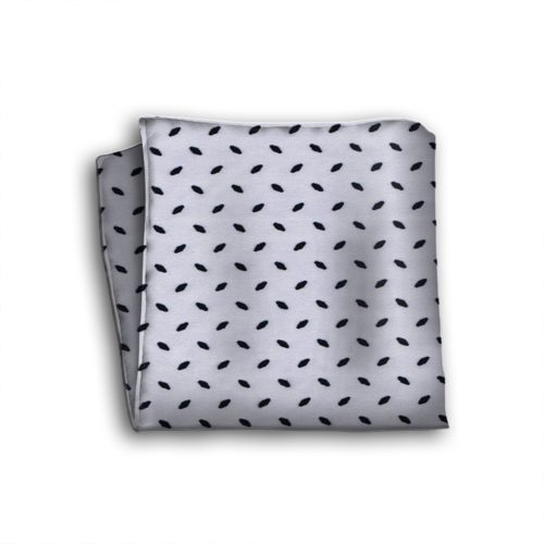 Sartorial silk pocket square with velvet effect application 419408-07