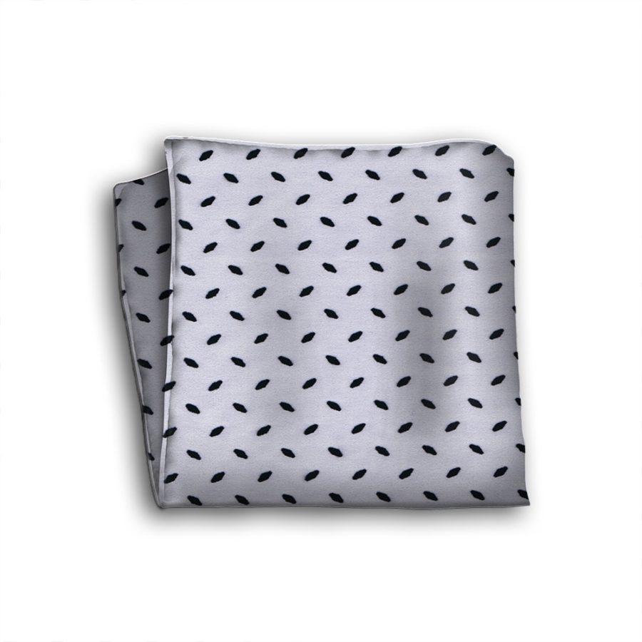 Sartorial silk pocket square with velvet effect application 419408-07
