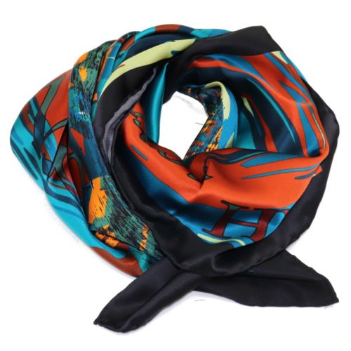 Green, orange and black women silk headscarf with fantasy, matching silk box included 419421-5
