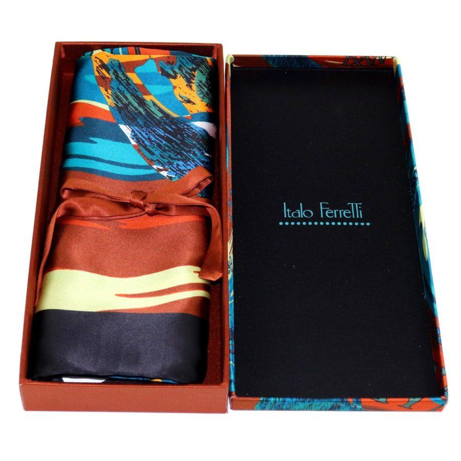 Green, orange and black women silk headscarf with fantasy, matching silk box included 419421-5
