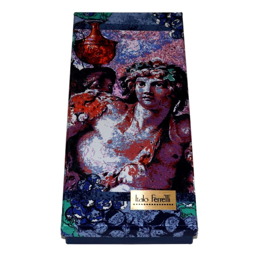 Lilac and blue women silk head scarf with fantasy, matching silk box included 419455-1