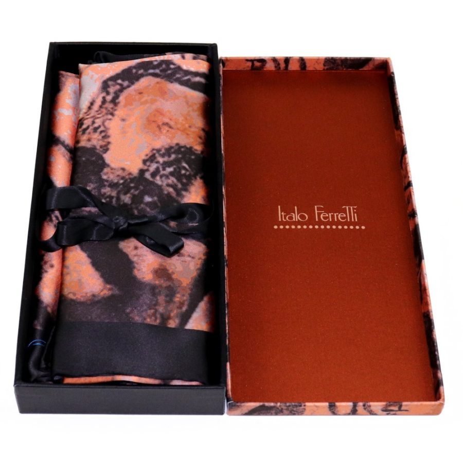 Brown and black women silk headscarf with fantasy, matching silk box included 419426-6