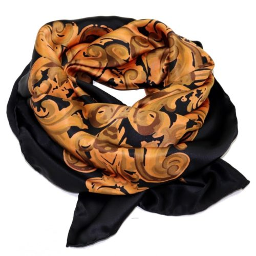 Gold and black Women silk headscarf with fantasy, matching silk box included 418304-6