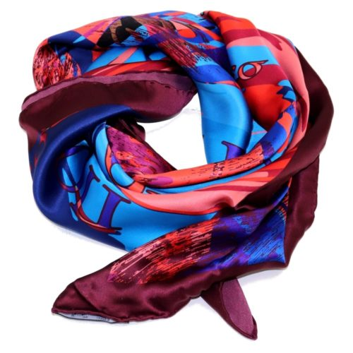 Women silk headscarf in red and blue with fantasy, matching silk box included 419421-3